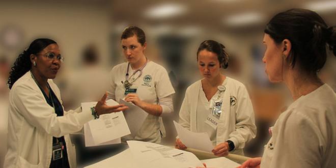 Nursing professor teaches students in the accelerated Bachelor of Science in Nursing program.