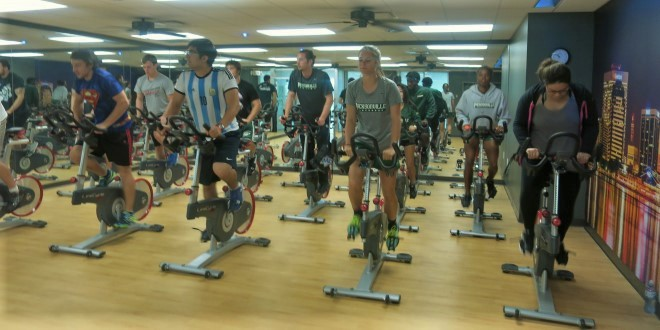 A group spin class.