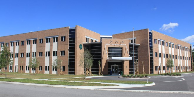 The exterior of the building where the Student Health Center is located.
