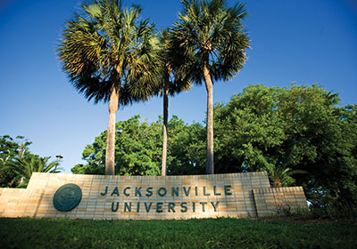 The JU sign at the entrance to campus.