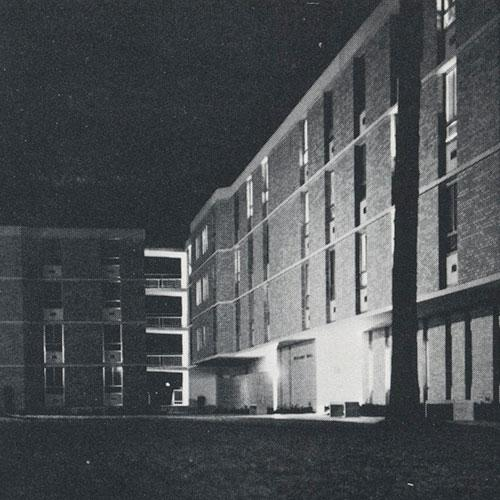 Williams Hall shines at night in 1967.