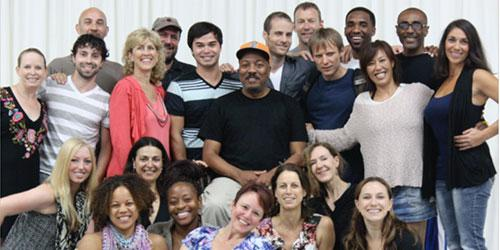 Guest artist Alonzo King in the center with MFA Choreography students.
