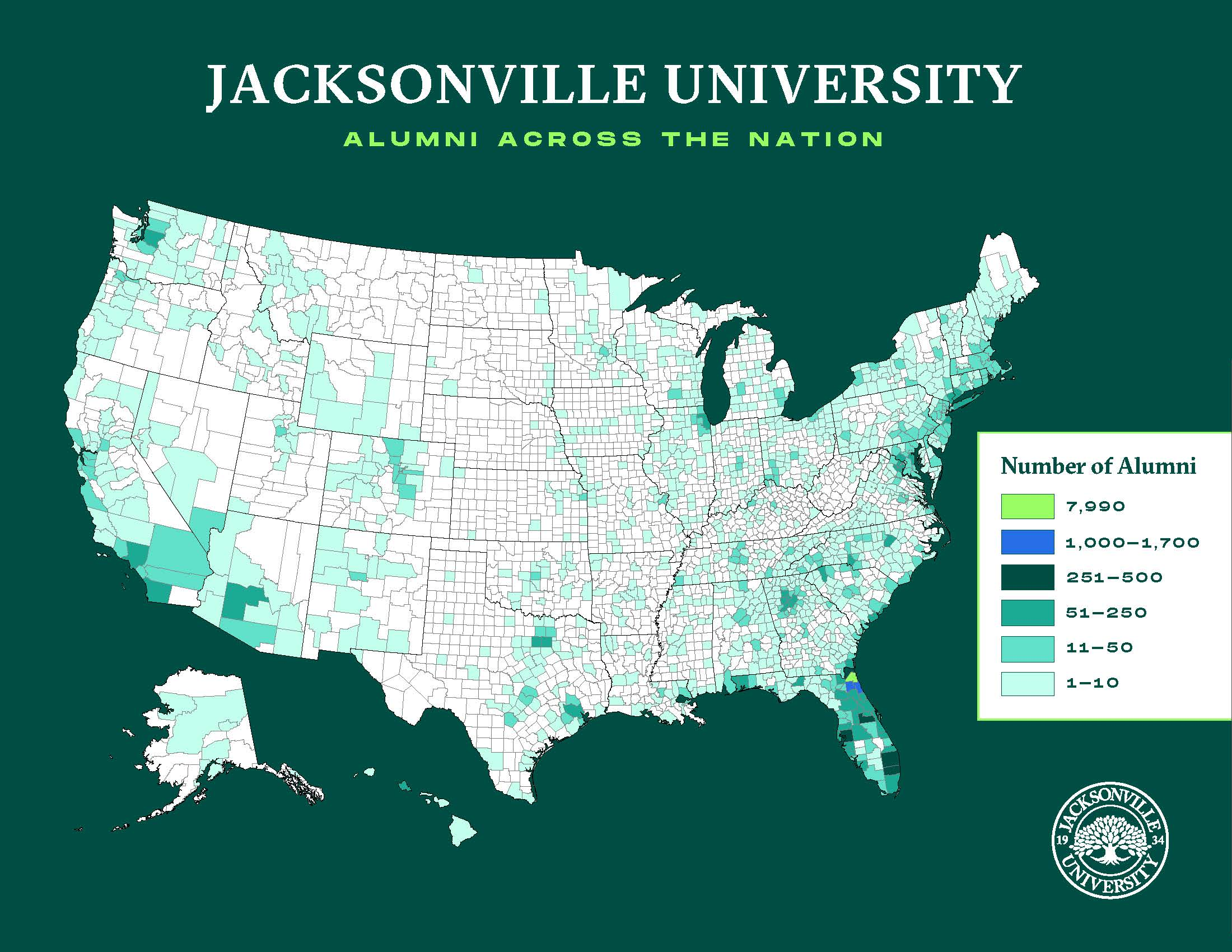 Alumni Heat Map in the USA