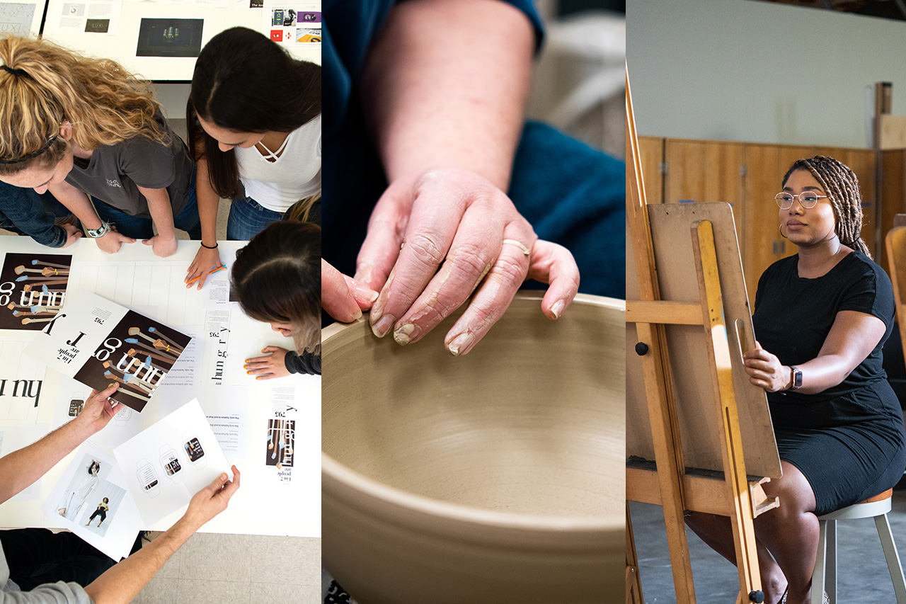 Students working on a graphic design, a professor sculpting a bowl, and a student at a drawing easel.