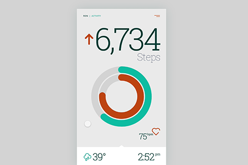 An animated mobile phone user interface design showing calorie data and cooking recipes.