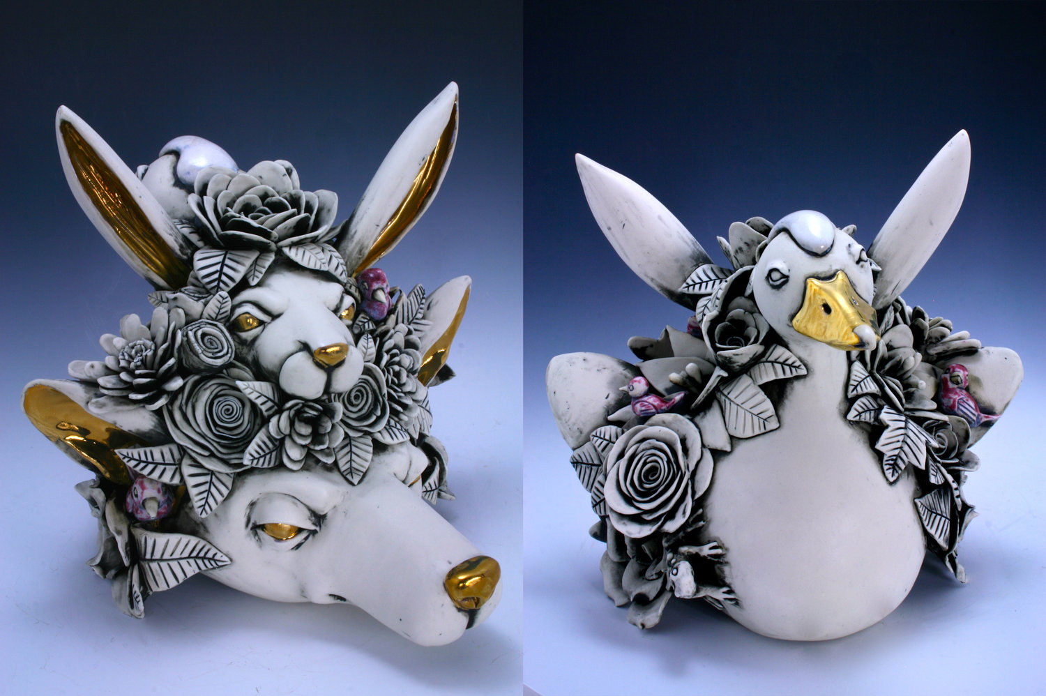 Ceramic Sculpture of goose rabbit fox and flower animals by artist