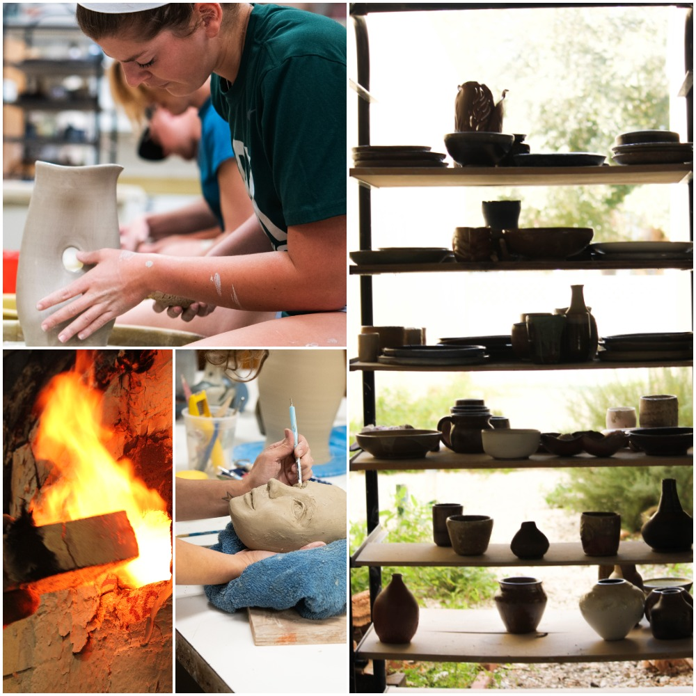 Collage image of student working on the potter's wheel, flames from a kiln, sculpting techniques and cart with pottery.