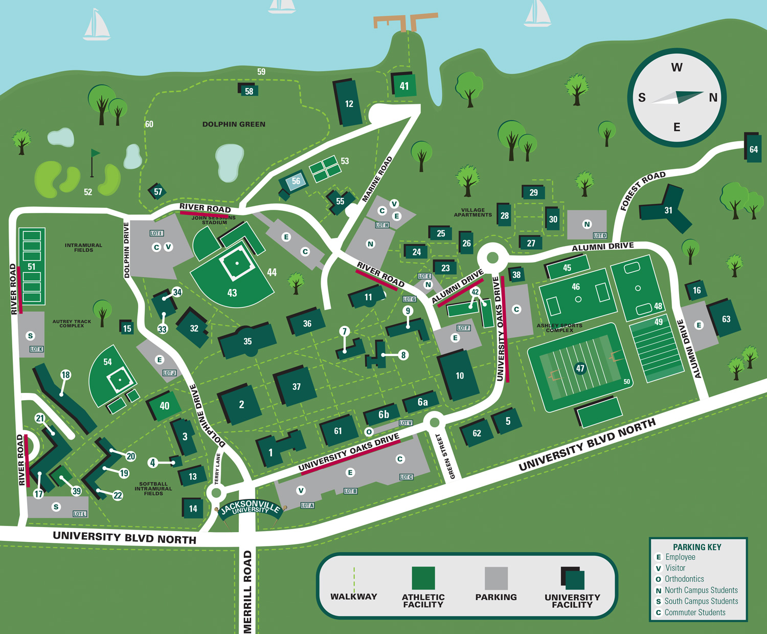 Campus Map - Routes to take on campus during Matthew clean-up
