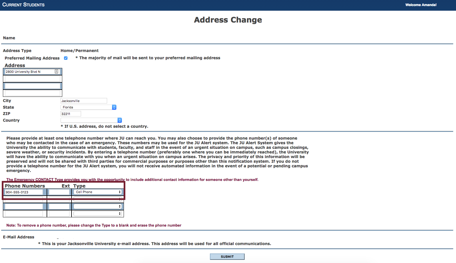 Screenshot of the Address Change screen. Click to zoom in.