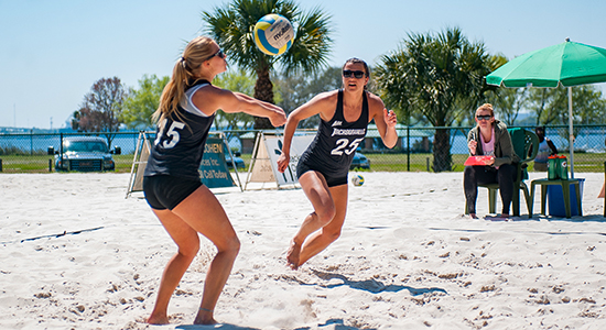 JU Dolphins playing beach volleyball