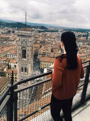 A student looking out over Florence