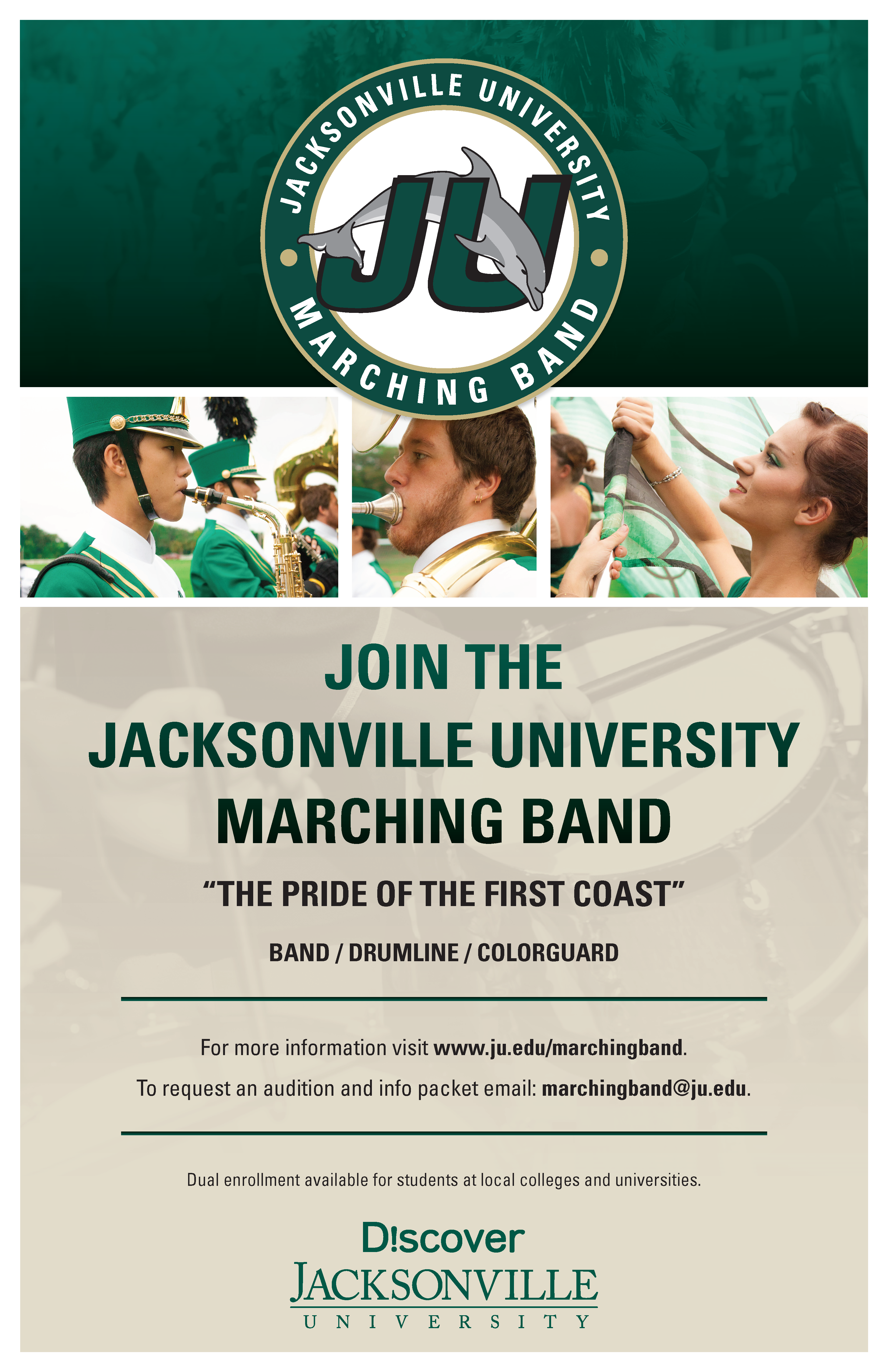Join the Jacksnville University Marching Band
