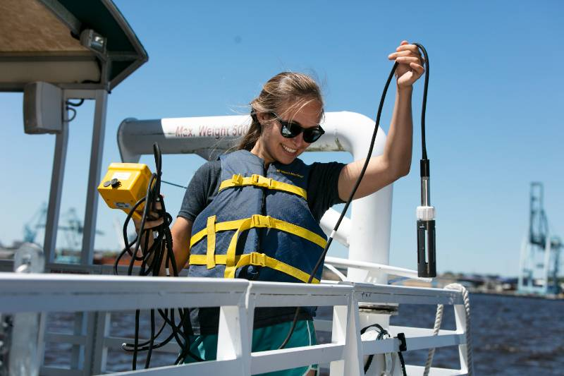 A marine science student on the St. Johns River.