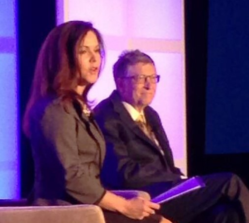 Dr. Annmarie Willette and Bill Gates on stage at event