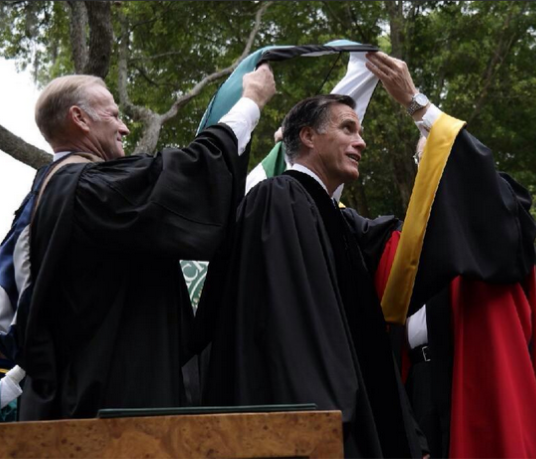 Mitt Romney receiving an honorary doctorate at spring commencement.